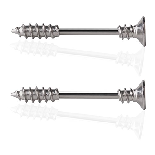 Ruifan 316L Stainless Steel Screw Bar Nipple Barbell Ring Body Piercing 14G 2PCS - Silver