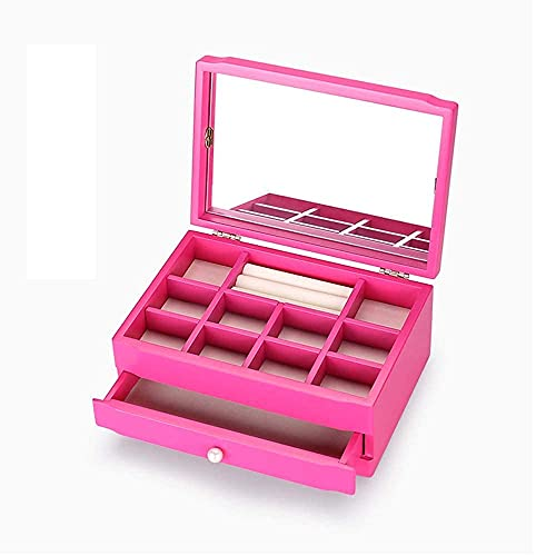 erddcbb Caja de joyería de Madera para niñas Caja de joyería de Madera Maciza Organizador de 2 Capas con Espejo para Anillo Pendiente Collar Regalo para Mujer Rosa
