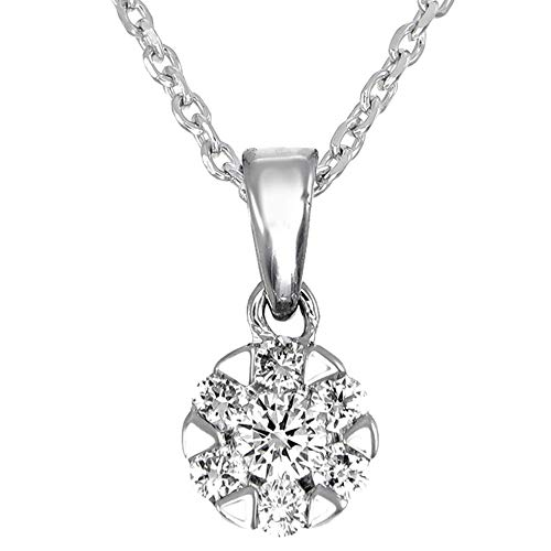 Dove Diamond Pendant Studs 18K White Gold with 0.23 Ct Diamond in VS Clarity, EF Color Lab Grown with 40-46cm Extendable Silver Chain | Certified, Hand Made, Ethical, Eco-Friendly Jewellery For Women