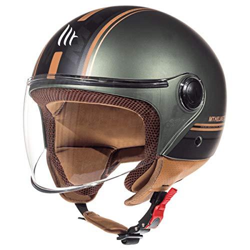 MT Street Jet-Helm Motorrad-Helm Roller-Helm Scooter-Helm Bobber Mofa-Helm Chopper Retro Cruiser Vintage Pilot Biker ECE 22.05 (Enitire Matt Grün, S)