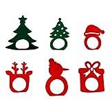 Amosfun 6pcs elementi natalizi forma anelli per tovaglioli fibbie per tovaglioli in tessuto porta tovaglioli in tessuto da pranzo per occasioni casual o formali