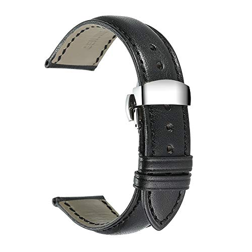 iStrap Genuine Leather Watch Band Padded Calfskin Strap Steel Butterfly Deployant Clasp with Push Buttons Super Soft-18mm 19mm 20mm 21mm 22mm(Multi-Colors to Choose)
