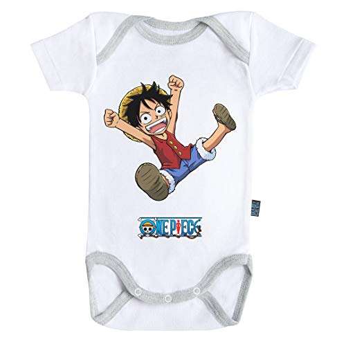 Baby Geek Luffy - One Piece ™ - Licence Officielle - Body Bébé Manches Courtes (6-12 Mois)