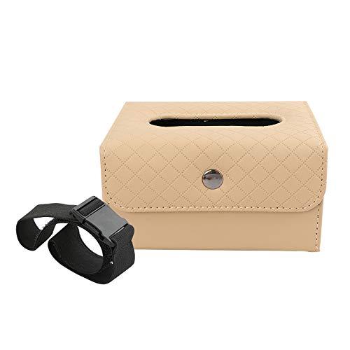 JIAOAOO Caja de pañuelos de cuero de doble propósito para coche con hebilla de cierre y caja de imán interior de coche titulares de pañuelos multifuncionales de cuero para el hogar