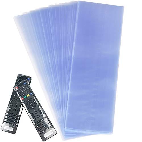 Morepack Schrumpffolie für TV-Fernbedienung, 100 Stück, transparent, PVC-Schrumpfschlauch, universelle Schutzfolie, staubdicht und wasserdicht, Schutzhülle für Klimaanlagen, Video, (7,9 x 27,9 cm)
