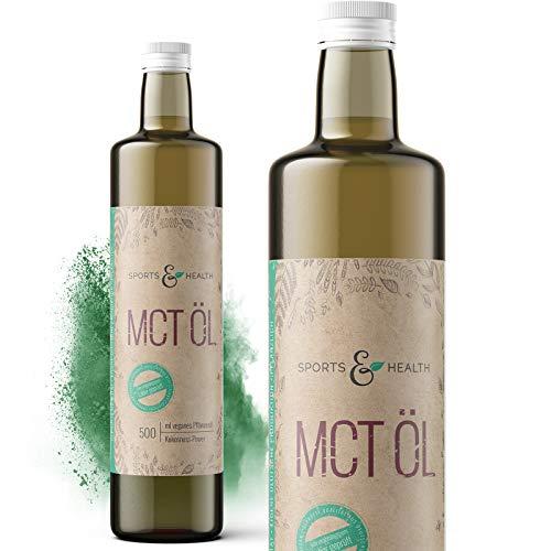 MCT Öl aus Kokosöl in einem 500 ml Oil Glas mit Ausgießhilfe und Originalitätsverschluss für Bulletproof Coffee und vegane Ernährung Hergestellt in Deutschland