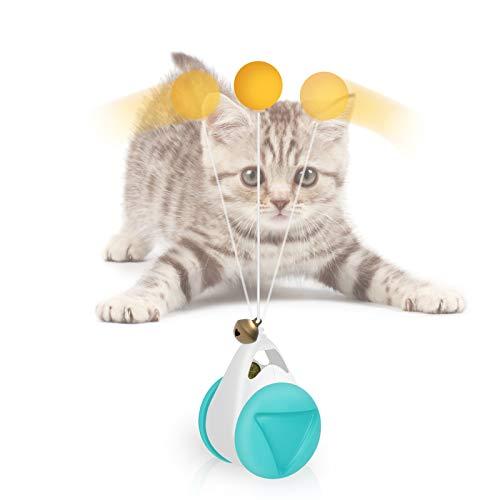 ABClife Juguetes para Gatos,Juguetes interactivos para Gatos, Juguetes para Gatos con balanceo con Hierba gatera, Vaso Giratorio, Juguetes Inteligentes para Gatos, Viene con pequeñas Bolas y Campanas