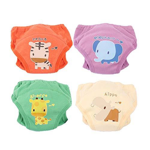 Morbuy 4 Packs Baby Lernwindel Trainerhosen Unterwäsche Windeln Windelhose zum Toilettentraining Töpfchentraining für Baby Kleinkind Töpfchen Klingelhose Trainer Windelhosen (110,Farbe A)