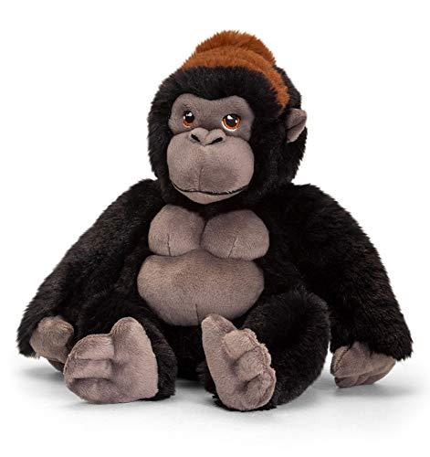 tachi Kuscheltier Gorilla 20 cm, Plüschtier AFFE Schwarz aus recycelten Material, Stoffgorilla sitzend