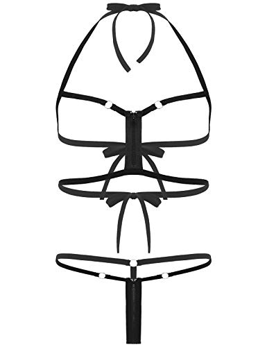 winying Damen Damen Mini String Tanga BH Set Ouvert Dessous mit Reisverschluss Cupless Microkini reizvolle Strandmode gr. S-XL Schwarz XL