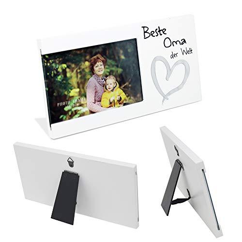 DRULINE Bilderrahmen Beste Oma | Motive | Schriftzug | Rahmen | Foto | Oma | Individuell | Geschenk| Hochwertig verarbeitetes Holz | 13 x 25 cm | Weiß