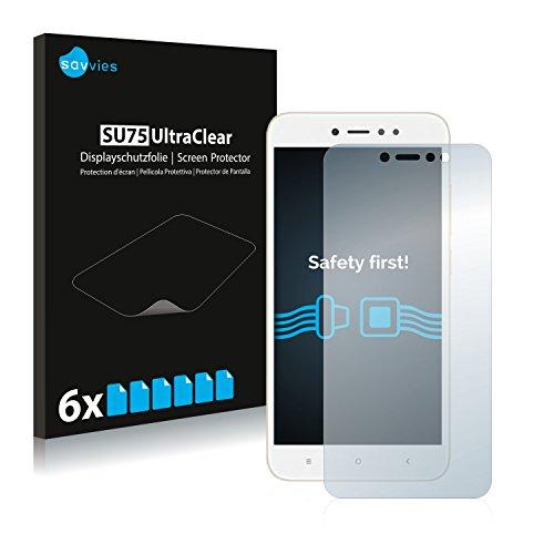 savvies Protector Pantalla Compatible con Xiaomi Redmi Note 5A Prime (6 Unidades) Pelicula Ultra Transparente