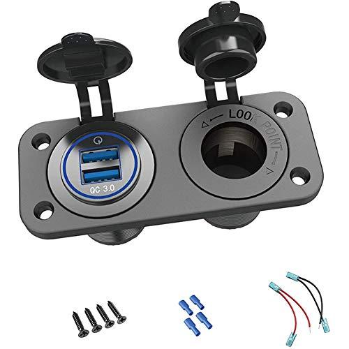 YCX Zigarettenanzünder Ladegerät Adapter Mit Dual USB, Buchse Steckdose Anschluss KFZ Auto LKW Motorrad 12V Schwarz,Schwarz