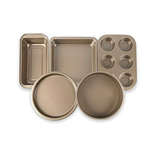 BBGSFDC 5-teiliges Backen-Werkzeug-Set, Haushalt-Kuchen-Form Pizza Tray Toast Tablett, Pizza Burger Backblech Ofen Geschirr Basic Set, Gold