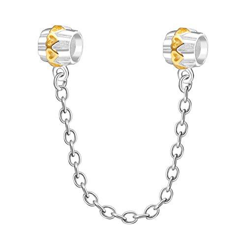 Cadena de seguridad de plata de ley 925 con diseño de corazón dorado, cadena de seguridad con rosca para pulsera europea