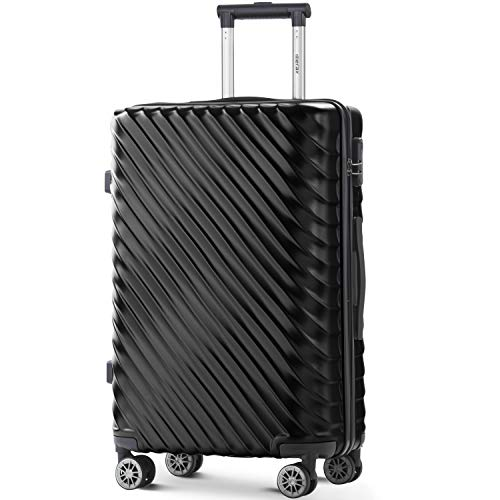 Merax Hard Luggage Lightweight Spinner Suitcases 4 Wheels Spinner Durable ABS+PC Trolley Travel Case with Lock (20/24/28/Set of 3) (M-24, Black)