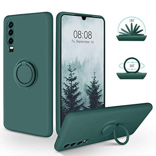 SouliGo Huawei P30 Hülle, Huawei P30 Handyhülle Silikon Gel Slim Hülle Cover mit 360 Grad Ring Halter Ständer stabil Kratzfest Hülle für Huawei P30 Dunkelgrün