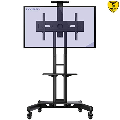 Invision Supporto TV da Pavimento con Ruote Carrello Staffa Porta Mobile Stand Orientabile per Schermi 32' a 65' - Antiribaltamento Ultra-Stabile – Max VESA 600mm(L)x400mm(A) [GT1200 ScreenStation]
