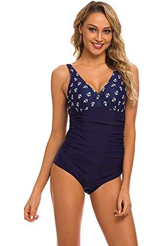 Libertepe Damen Sexy Einteiler Badeanzug mit Anker Druck Bauchweg Schwimmanzug Figurformend Bademode Vintage Strandmode Beachwear