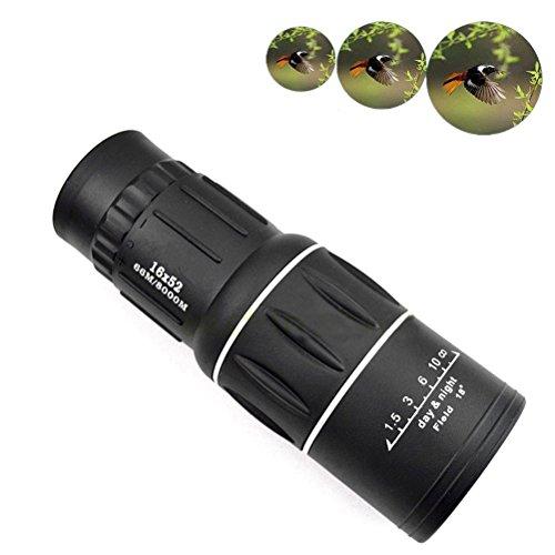 Pixnor 16 x 52 HD óptica día Monocular de visión nocturna resistente al agua niebla telescopio para caza Camping Senderismo (negro)