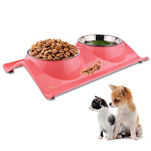 Fressnapf für Hund Katze Doppel Futternapf Edelstahl Hundenapf katzenapf Pet Schalen rutschhemmenden und ausschüttsicheren für Tiernahrung und Wasserzufuhr (Rosa)