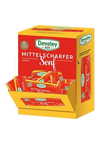 DEVELEY Mittelscharfer Senf – 100 x 15 ml Pack - Portionsbeutel - Mittelscharfer Senf – Original Develey Rezeptur – Ohne Zusatz von Konservierungsstoffen und Geschmacksverstärkern – Senf