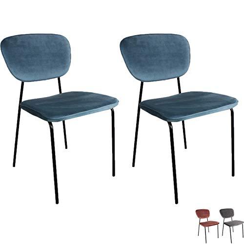 Nimara Set di 2 Sedia per Sala da Pranzo in Velluto, sedie e sedie da Cucina in Tessuto per Tavolo da Pranzo, sedie con Design della Tradizionale Sedia Scolastica, Stile Vintage