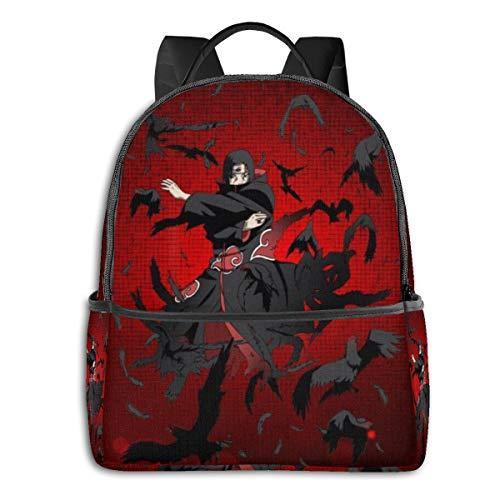 Japan Anime Naruto Uchiha Itachi mochila escolar para hombres y mujeres, se adapta a una ligera bolsa de portátil de 14,5 pulgadas, mochila de viaje versátil