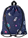 Aminata Kids - Kinder-Turnbeutel für Junge-n und Mädchen mit Weltall Astronaut Universum Planet-en Weltraum Sport-Tasche-n Gym-Bag Sport-Beutel-Tasche dunkel-blau