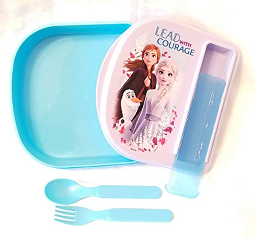 Frozen-2 Images Blue and Purple Sandwich or Meal Container with Matching Blue Fork and Spoon Enclosed in Kit