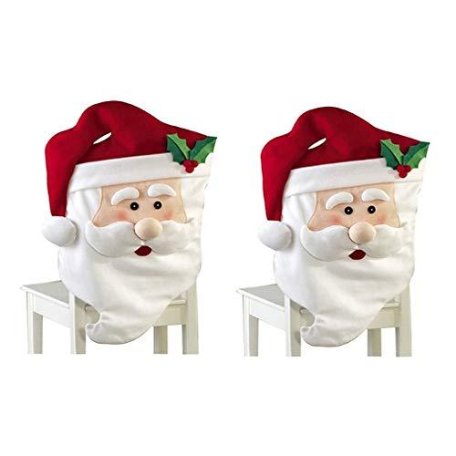 TMEOG Weihnachten Stuhlhussen Stuhlbezug für Stuhl Esszimmer, Entfernbar Stuhlhusse Stuhl Hussen Weihnachten Dekoration Bezug (Mr&Mrs Weihnachtsmann) (Mr Santa (2PCS), 44 * 74cm)