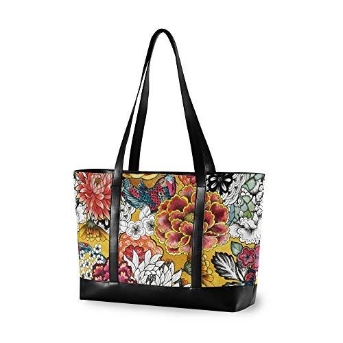 RELEESSS Tote Laptop Bags Vintage Floral Handbag Shoulder Bag Laptop Case for Women Ladies Girls