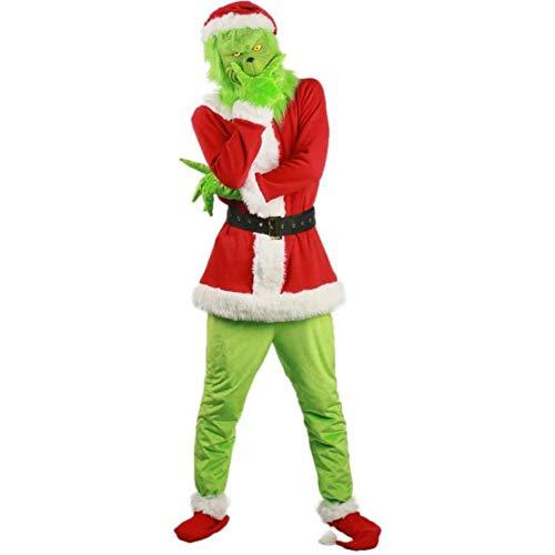 7pcs   Set Verde Di Santa Grinch Natale Costume Outfit Uomo Cosplay Bambini Fancy Dress Set Con Santa Hat Maschera Cappotto Della Cinghia Della Vita Covers Guanti Pantaloni Scarpe ( Size : XXX-Large )