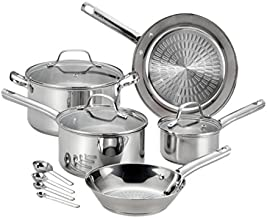 T-fal 2100096045 Pro E760SC Performa Stainless Steel Dishwasher Oven Safe Cookware Set, 12-Piece, Silver, 0,