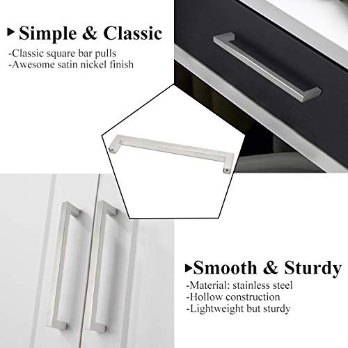 Probrico Kitchen Cabinet Drawer Handles Stainless Steel 7-3/5 Inch Hole Spacing Brushed Nickel Pulls 8 Inch Total Length 10 Pack