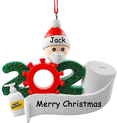 Quarantine Family 2020 Christmas Ornament with Face Mask Hand Sanitizer Toilet Paper Personalized Xmas Gifts for Friends, Todders Kids (Customized-Best Friend 1)