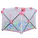 OSHA HJWMM Parque Infantil, pentágono Portátil Valla de Juegos for Niños Plegable Valla de Seguridad for Bebés, Sin instalación (Color : A-Pink, Size : 110x73x72cm)