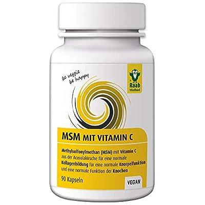 Raab Vitalfood MSM-Kapseln, vegan, glutenfrei, Methylsulfonylmethan, Vitamin C für normale Kollagenbildung, normale Knorpelfunktion, 100 % hochwertiges MSM aus der USA (1x 90 Kapseln)