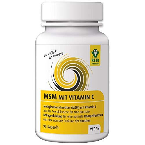 Raab Vitalfood MSM-Kapseln, vegan, glutenfrei, Methylsulfonylmethan, Vitamin C für normale Kollagenbildung, normale Knorpelfunktion, 100 {eb716357955fe28c50ba3e093bf75e2c84dd89a9dba32feff0daae42838add4e} hochwertiges MSM aus der USA (1x 90 Kapseln)