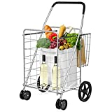 Goplus Folding Shopping Cart Jumbo Double Basket Perfect for Grocery Laundry Book Luggage Travel with Swivel Wheels Utility Cart (Silver)