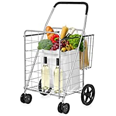 🛒FOLDABLE DESIGN- This shopping cart can be easily folded, which is very convenient for you to carry and transport. When you are not in need, you can folded it up and it doesn't take up much space. 🛒HIGH QUALITY MATERIAL- It is made of premium heavy ...