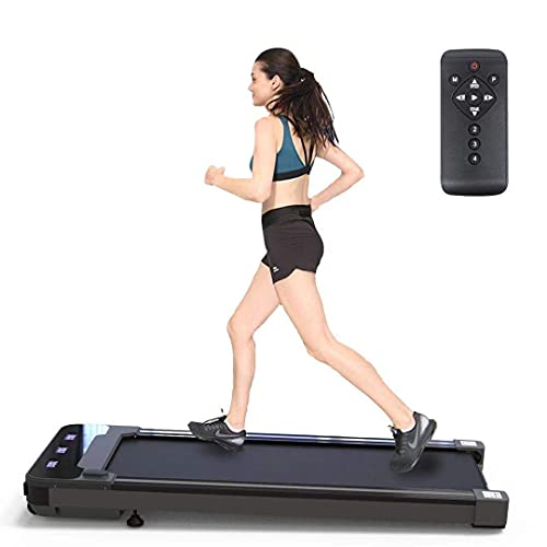 Portable Under Desk Treadmill with Wheels - Installation-Free Walking Running Pad Flat Fitness Exercise Machine, Mini Quiet Slow Running Treadmill with Smart Remote and LED Display for Home and Office