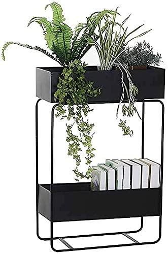 Soporte de exhibición de 2 niveles, soporte de flores para el hogar, balcón, hierro y jardinera para decoración de hierbas, bonsái, para el hogar, patio, oficina, jardín