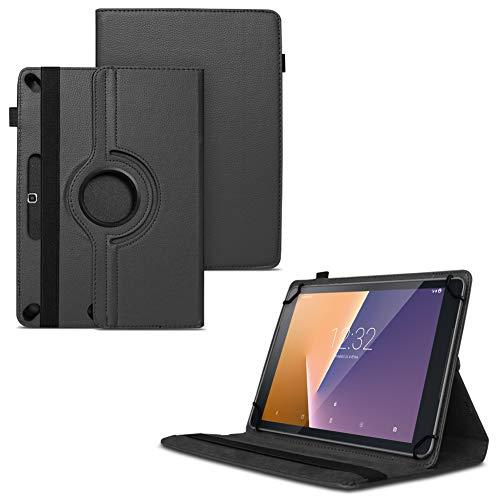 Nauci Tablet Schutz Hülle für Vodafone Tab Prime 6/7 aus hochwertigem Kunstleder mit Standfunktion 360° Drehbar kombiniert Schutz & Design Cover Hülle, Farben:Schwarz
