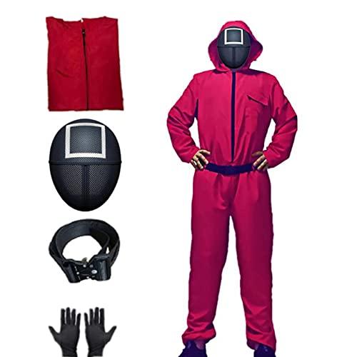 Costume da gioco di calamari 2021 in Corea del Sud Tuta + Maschera + Cintura + Guanti Halloween Manica Lunga Cosplay Un Pezzo Totale per Adulti Rosso, B, XL