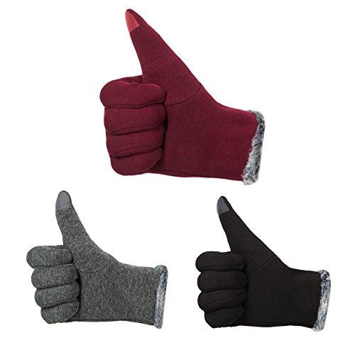 GLOUE Warm Winter Handschuhe Damen Touchscreen Handschuhe Kaschmir Drinnen Draußen Fahrradhandschuhe Motorradhandschuhe Mountainbike Handschuhe - 5