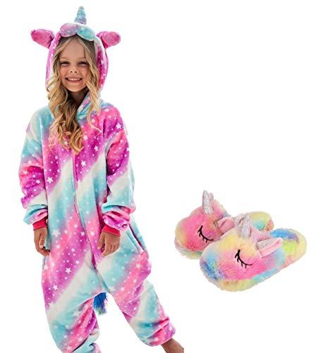 Girls Unicorn Pajamas Onesie with Unicorn Slippers (Pink, 9-10 Years)