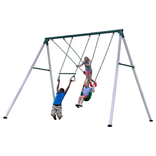 Backyard Discovery Big Brutus Heavy Duty Metal Swing Set, White & Green