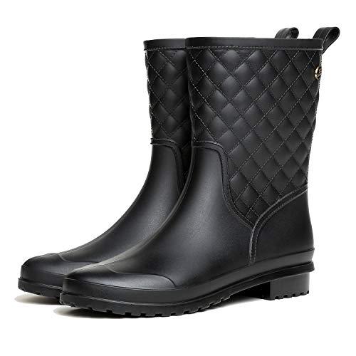 LILY999 Botas de Agua Mujer Impermeables Botas de Lluvia Bota de Goma Casual Calzado(Negro,39 EU)