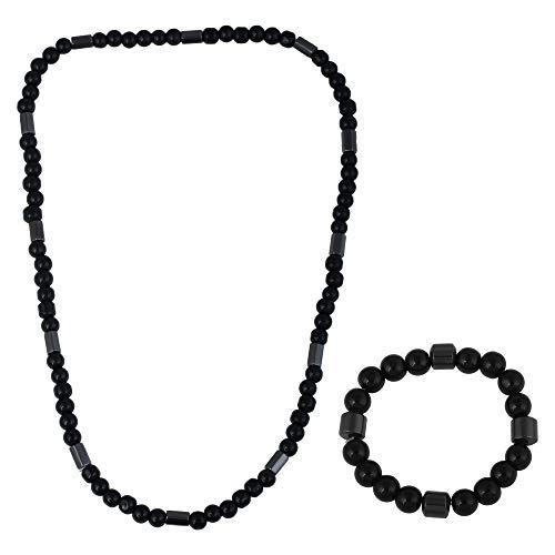 Desconocido Sataanreaper Presents Negro Onyx Magnética Gratuito Estiramiento del Tamaño De Collares Y Pulseras Combo Hombres Mujeres #Sr-2131